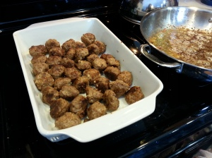browned meatballs