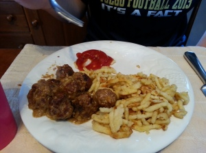 The guys in my family put ketchup on their Swedish meatballs.